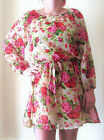 LADIES FLORAL LONG SLEEVED & FULLY LINED DRESS LONG TOP WITH BELT SIZES 8-16