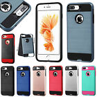 For Apple iPhone 8 & 8 PLUS Brushed Metal HYBRID Rubber Case Phone Cover