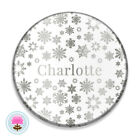 Personalised SNOWFLAKE Silver Foil POCKET MIRROR 58mm Wedding/Hen Favour/Gift