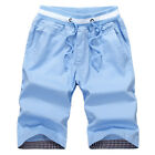 Mens Casual Slim Fit 100% Cotton Bermuda Drawstring Surfing Board Shorts Pants