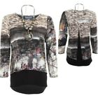 Ladies Long Sleeve Baggy Flare 2in1 Layered Open Back High Low Necklace Top