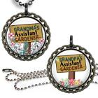 Grandma or Grandpa's Assistant Gardener Bottle Cap Necklace Handcrafted Jewelry
