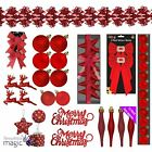 Red Christmas Tree Decoration Xmas Matching Set Ornament Baubles Hearts Topper