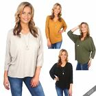 Womens Ladies Oversized V Neck Jersey Batwing Top Blouse Long Sleeve T Shirt UK