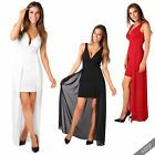 Womens Ladies Cocktail Chiffon Skater Overlay V Plunge Bodycon Mini Dress Party