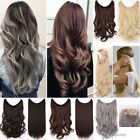 Secret Fish Line Wire Hair Extensions Real Natural Brown Blonde Gray Hairpiece