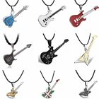 Fashion Men's Unisex Stainless Steel Guitar Pendant Leather Necklace Jewelry New