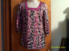 """BRAND NEW LADY""""S MIXIT PINK & BLACK SHORT SLEEVE PULLOVER TOP DROP PRINT"""