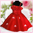 Girl Reds Christmas Wedding Party Bridesmaid Flower Girls Dresses AGE 2,3,4,6,8Y