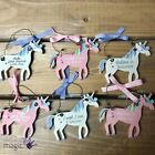 8cm Wooden Unicorn Magical Pony Rainbow Quote Sentiment Hanging Decoration Tree