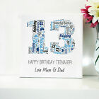 13TH BIRTHDAY CANVAS. WORD ART FRAMED PRINT - PERSONALISED GIFT - ANY NUMBER