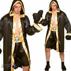 Men Adults Champion Boxer Boxing Sports Robe Fancy Dress Costume Outfit + Gloves