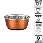 Classic Luxury Embossed Copper Non-Slip Stainless Steel Cat Dog Puppy Dish Bowl