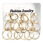 9 Pair/Set Fashion Punk Big Circle Round Hoop Earrings For Women Party Jewelry