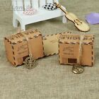 50pcs Wedding Favors Kraft Paper Candy Box Travel Theme Airplane Air Mail Gift