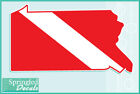 PENNSYLVANIA Shaped DIVE Flag Vinyl Decal Car Truck Sticker SCUBA Diving Decal
