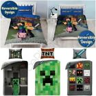 MINECRAFT KIDS BEDROOM - CUSHION, DUVET COVER SET REVERSIBLE SINGLE & DOUBLE