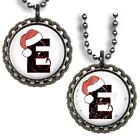 Custom Initial Santa's Hat Kid's Bottle Cap Necklace Handcrafted Holiday Gift
