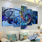 5pcs Frame Modern Blue Peacock Canvas Print Art Painting Wall Picture Home Decor