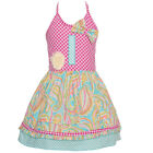 Sophias Style Exclusive Baby Girl Blue Paisley Check Halter Birthday Dress 12M-2