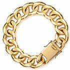 Miami Curb Cuban Link 13/18mm Mens Bracelet Chain Stainless Steel Gold Plated