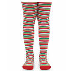 Jefferies Socks Big Girls Red Green White Stripe Holiday Footed Tights 6-8