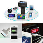 4in1 Digital LED Thermometer+Voltmeter+USB Car Charger Cigarette Lighter+Ammeter