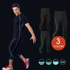 Homme Pro Sports Fitness Running Cropped Pants Fast-dry Stretchy Gym Trousers
