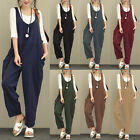 Women Ladies Sleeveless Loose Cotton Linen Jumpsuits Overall Long Trousers Pants