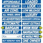 "15"" Long Blue & White Adhesive Car Dealer Windshield Slogan Sticker You Pick"