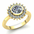 1.5ctw Round Cut Diamond Ladies Floral Halo Solitaire Engagement Ring 14K Gold