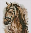 HORSE BROWN AND WHITE WITH TACK COUNTED CROSS STITCH PATTERN PDF OR PRINTED