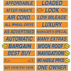 "15"" Orange & Blue Adhesive Car Dealer Windshield Slogan Sticker You Pick"