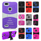 For ZTE Blade Force HYBRID Hard Gel Rubber KICKSTAND Case Cover + Screen Guard