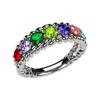 NANA Rope Mothers Ring 1 to 10 Simulated Birthstones in Sterling Silver or 10k