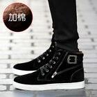 Mens Fashion High Top Faux Suede Lace Up Buckle Zipper Casual Ankle Boots Shoes