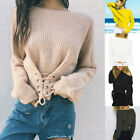 Women Lantern Sleeve Sweater Lace Up Front Autumn Knitwear Tops Knitted Pullover