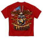 USMC Double Eagle and Flags Gildan T-Shirt - PreShrunk Cotton  6 Sizes