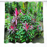 "60/72""Tropical Flower Waterproof Fabric Bathroom Decor Shower Curtain &Mat &Hook"