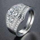 Micro Paved Clear CZ 3-Stone Lady Womens Ring Set White Gold Filled GF Wedding