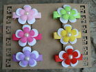 Set Of Six Assorted Coloured Flower Hairclips