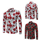 Fashion Mens Slim Fit Long Sleeve Shirt Casual Flower Floral Print Dress Shirt