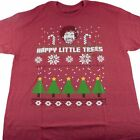 Bob Ross Happy Little Trees Ugly Christmas T-Shirt Adult M L XL 2XL Red