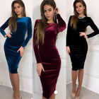 Women Bandage Bodycon Casual Long Sleeve Evening Party Cocktai Midi Dress Velvet