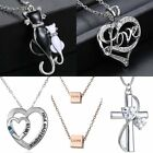 Stainless Steel Love Heart Cat Pendant Necklace Mother's Day Gift Women Jewelry
