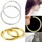 #E121F Pair CLIP ON Thick Tube Hoop EARRINGS look like pierced Spring Big Small image