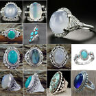 Fashion 925 Silver Oval Turquoise Gem Wedding Party Rings Jewelry Female Gift