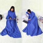 Supper Home Winter Warm Soft Fleece Snuggie Blanket Robe Cloak with Sleeves