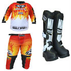 New Kids Wulfsport Motocross Boot Red Shirt & Pants Bundle (All Sizes) Youth Mx
