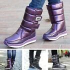 Pop Women's Snow Boots Faux Leather Winter Mid-Calf Boots Round Toe Casual Shoes